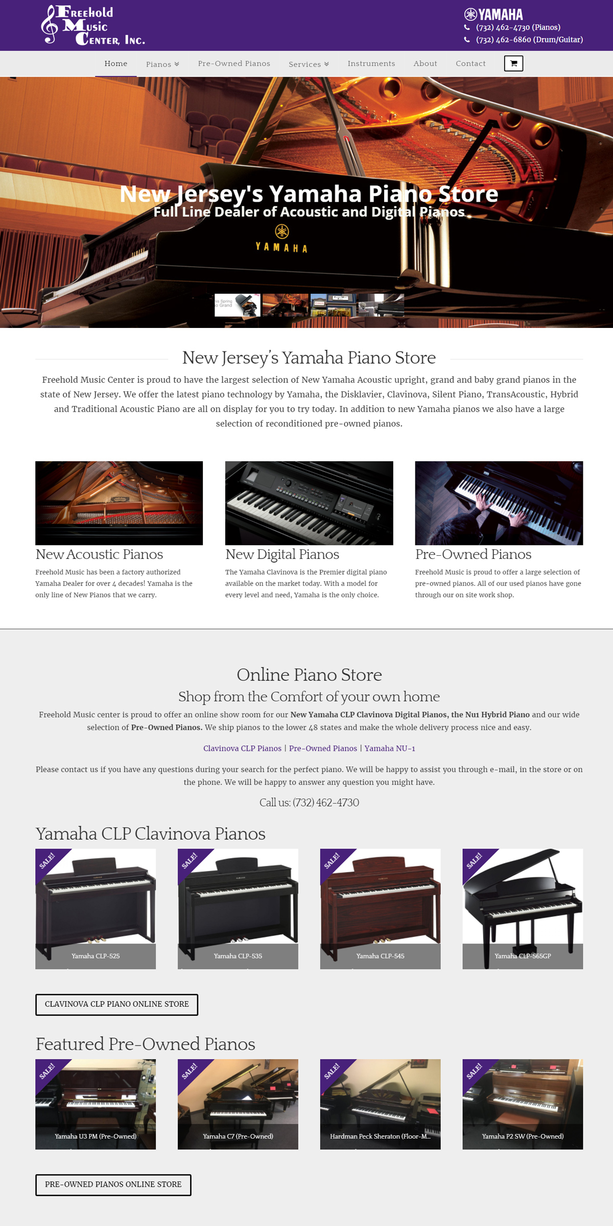Piano Store Website Design - Home