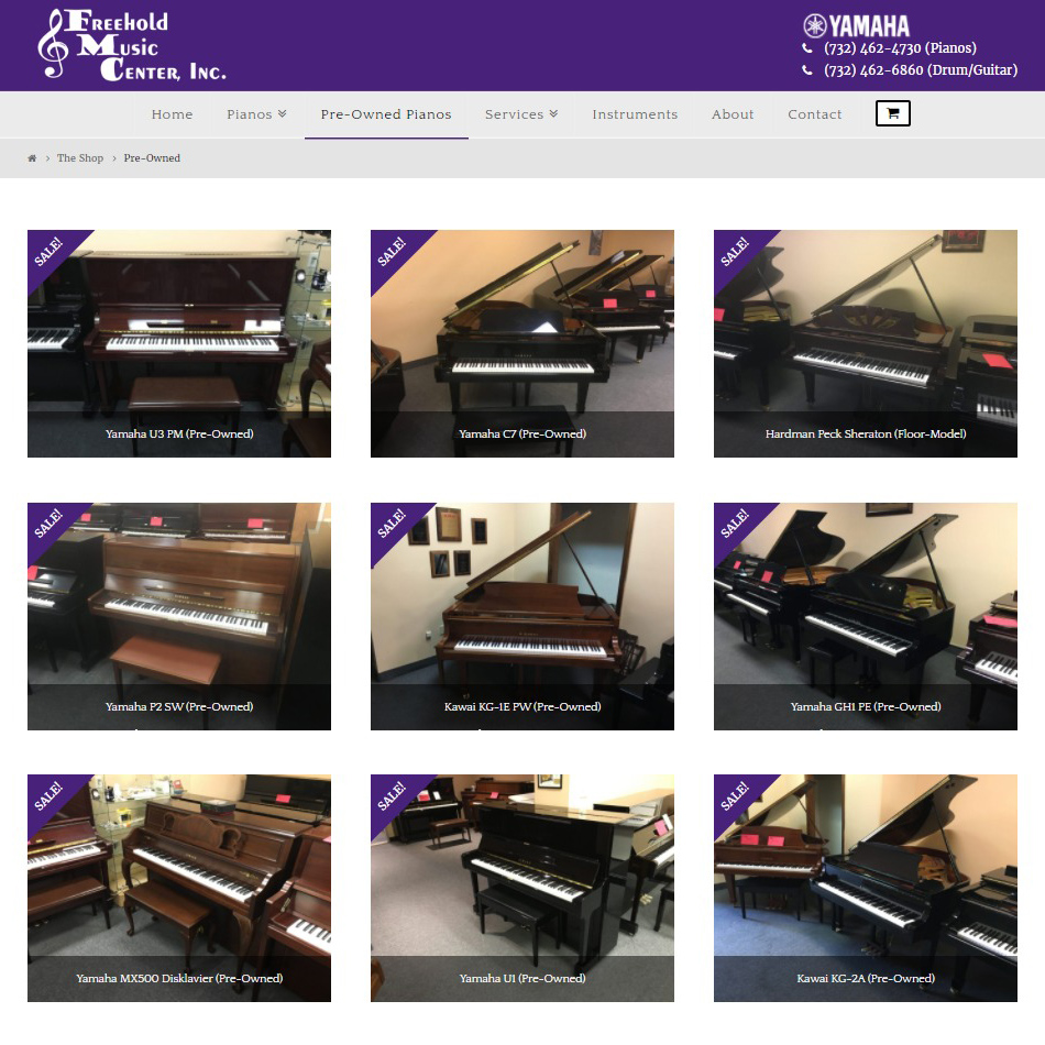 Piano Store Website Design - Preowned Pianos