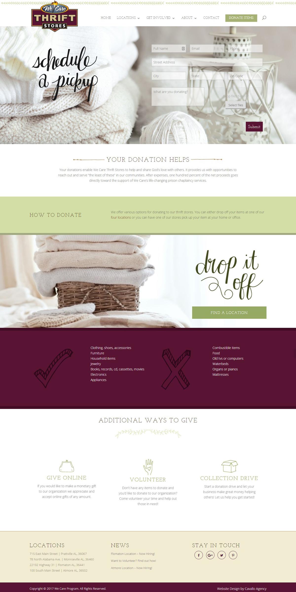 Thrift Store Website Design